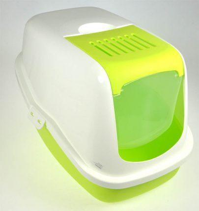 Toaleta dla kotów - biało - zielona-0