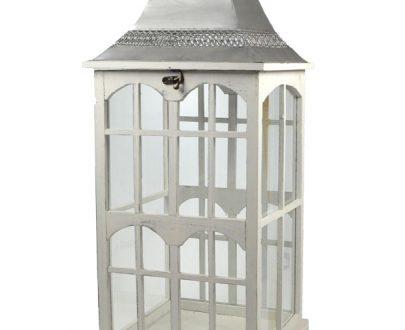 Lampion szklano - drewniany 82 cm-0