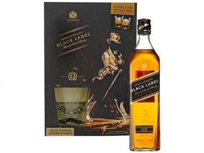 WHISKY - JOHNNIE WALKER - BLACK LABEL - 0,7L + 2 SZKLANKI-33591